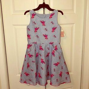 ZOE LTD Blue dress w/ Pink flowers & Zipper SZ 12